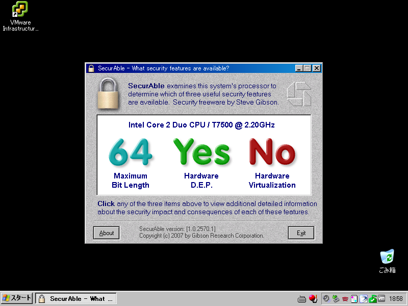 Windows XP Pro on VMware Workstation with Intel Core2Duo T7500